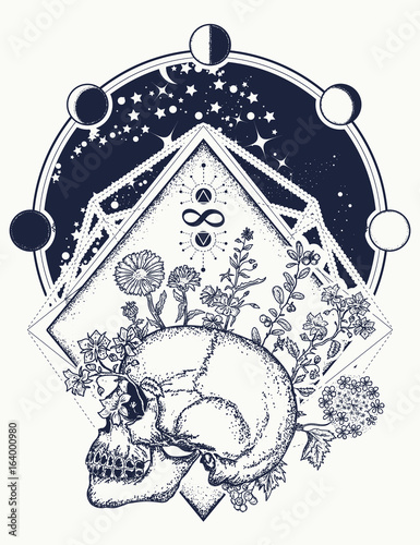 Human Skull Through Which Flowers Tattoo Art Psychology