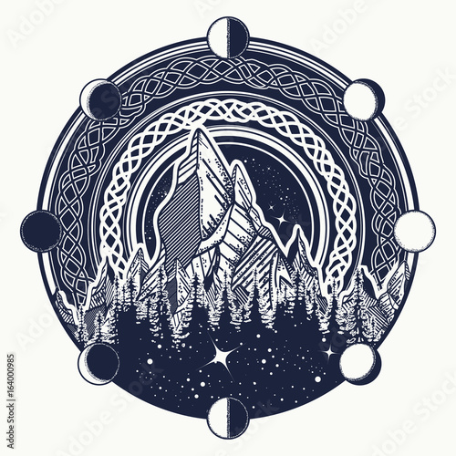 Mountains In The Circle Tattoo Celtic Style Great Outdoors Symbol
