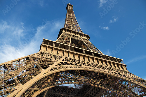Fototapety, obrazy: View of the Eiffel Tower in Paris. France. The Eiffel Tower was constructed from 1887-1889 as the entrance to the 1889 World's Fair by engineer Gustave Eiffel.