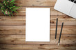 canvas print picture - Modern workplace with notebook, blank paper, pencil and little tree copy space on wood background. Top view. Flat lay style.