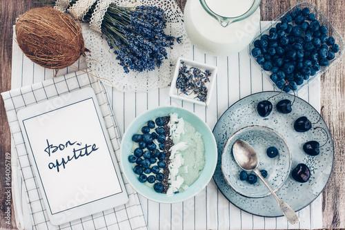 Photo  Summer breakfast concept, top view