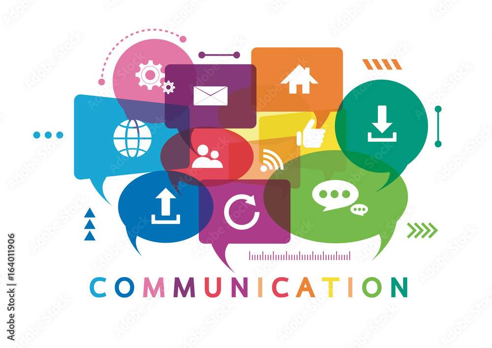 Fototapety, obrazy: Vector illustration of a communication concept. The word communication with colorful dialog speech bubbles