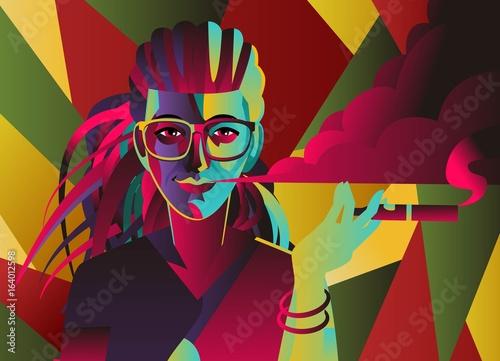 Fotografie, Obraz  rasta dreadlocks hipster girl with vaporizer