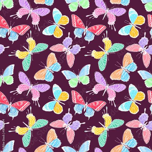 Fototapeta seamless multicolored butterflies