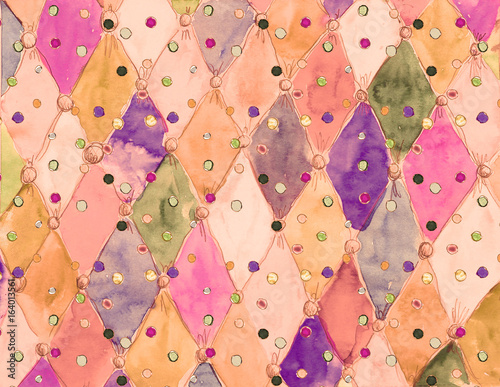 Watercolor hand drawn  color  grunge circus vintage pattern Canvas Print