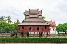 Ancient Wooden Monastery At Wat Thung Si Muang In Ubon Ratchathani Province, Thailand