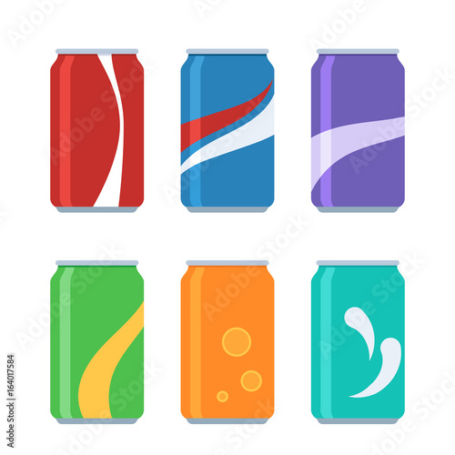 Icon set soda cans Wallpaper Mural