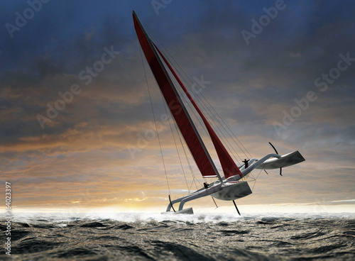 Photo Wettkampf Regatta Trimaran