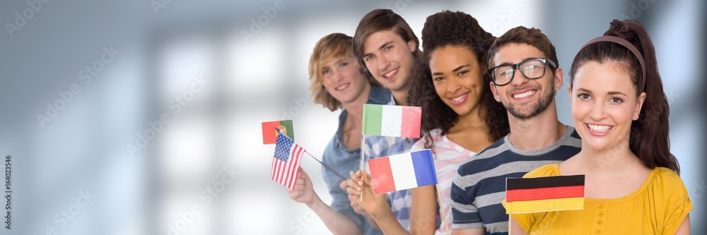 Fototapety, obrazy: International Students in front of blurred background