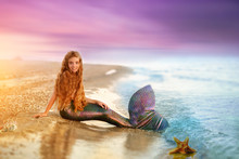 Blonde Beautiful Siren Mermaid . Mermaid Girl With Pink Tail Put Feet In Water. Top View. Fun, Vacation Concept. Text Space