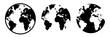 Set: Schwarz-weiß Silhouette Globus / Vektor, freigestellt