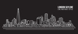 Fototapeta London - Cityscape Building Line art Vector Illustration design - London skyline