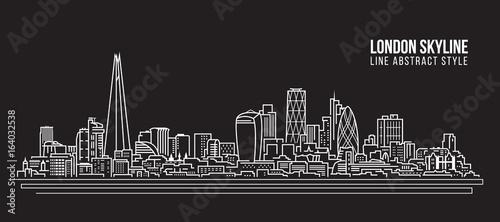 Cityscape Building Line art Vector Illustration design - London skyline Wallpaper Mural