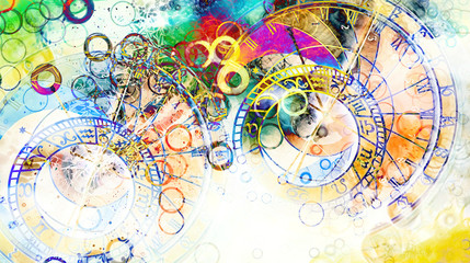 Fototapeta Abstrakcja astrological symbol Zodiac. Abstract color background. Computer collage.