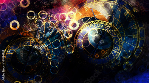 Fotobehang - astrological symbol Zodiac. Abstract color background. Computer collage.