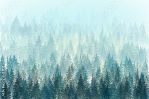 Poster Bleu clair Trees in morning fog. Digital painting.