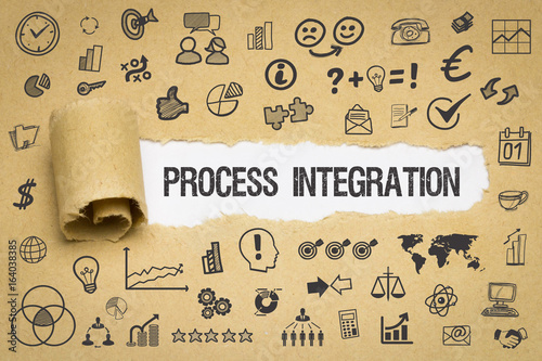 Fotografie, Obraz  Process Integration / Papier mit Symbole