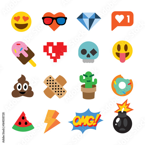 Set of cute emoticons, stickers, emoji design, isolated on white background Canvas Print