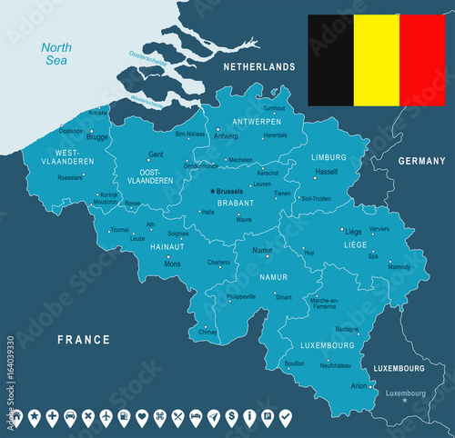 Fotomural Belgium - map and flag illustration