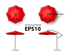 Open Red Umbrella For Summer A...