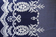 Dark Blue Fabric With Medallions And Polka Dot Pattern
