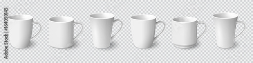 Obraz Set of realistic white coffee mugs isolated on transparent background - fototapety do salonu