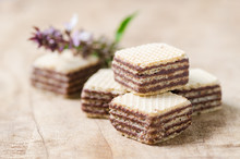 Chocolate Wafer On Wooden Background