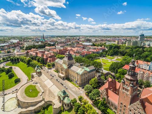 Obraz Szczecin z lotu ptaka. Stare miasto i Wały Chrobrego - fototapety do salonu