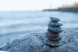 Pebble tower on the seaside