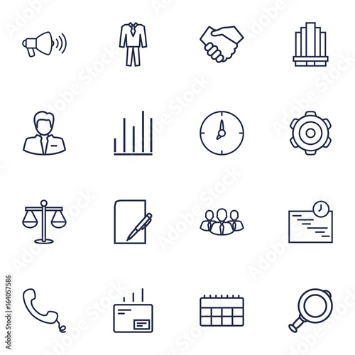 Foto  Set Of 16 Management Outline Icons Set