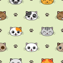 Fototapeta Do pokoju dziecka Cute vector seamless pattern with cats