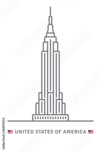 Fotografie, Obraz  United States of America icon with Empire State Building and US flag