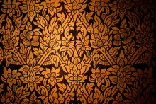 Native Thai Painted Style Of Textured Wall In Ancient Buddhist Temple. Thai General Line Art Pattern For Background.