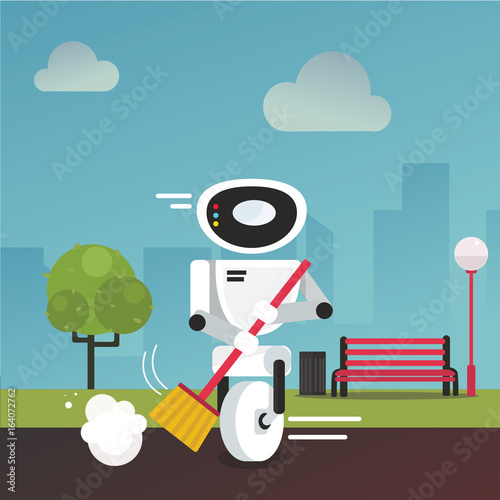 Domestic robot cleaning park alley with a broom in hand