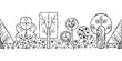 Vector hand drawn seamless border, pattern, decorative stylized black and white childish trees. Doodle sketch style, graphic illustration, background. Ornamental cute hand drawing. Line drawing.
