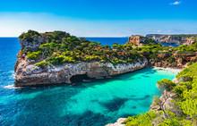 Picturesque Seascape On Majorca Island, View Of The Idyllic Bay Beach Cala Moro, Spain Mediterranean Sea