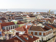 LISBON, PORTUGAL, on June 15, 2017. Summer day. The sun lights a panorama of the city and red roofs of downtown