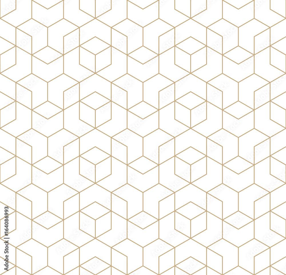 Fototapeta seamless geometric line grid vector cubes pattern
