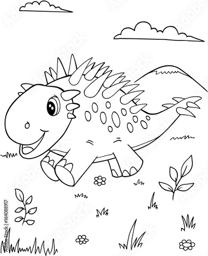 Papiers peints Cartoon draw Cute Dinosaur Vector Illustration Art