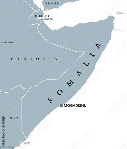 Somalia political map with capital Mogadishu. Federal ...