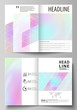 Business templates for bi fold brochure, flyer. Cover design template, abstract vector layout in A4 size. Hologram, background in pastel colors, holographic effect. Blurred pattern, futuristic texture