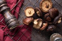 Dried Shiitake Mushroom On Table Background