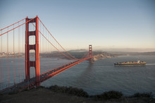 Golden Gate Bridge Evening With Container Ship