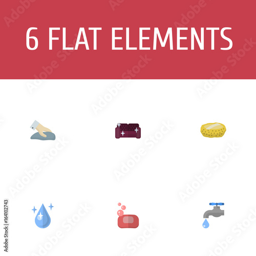 Flat Icons Towel, Sofa, Sponge And Other Vector Elements. Set Of Hygiene  Flat
