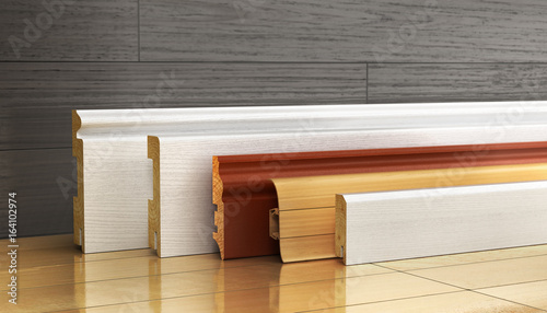 Photo Set of skirting different form on a wood background