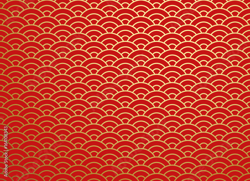 Leinwand Poster Chinese traditional oriental ornament background, red golden clouds pattern seam