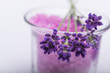 lavender flowers with lavender bath salt