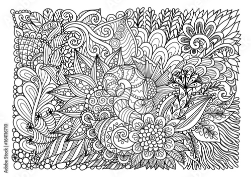 Foto op Canvas Bloemen Abstract floral lineart for background and adult coloring book page. Vector illustration