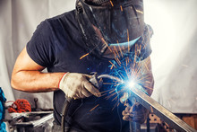 Man Weld  A Metal  With A  Wel...