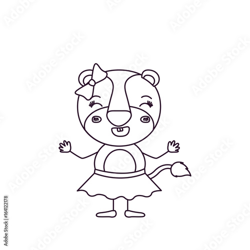 Sketch Silhouette Caricature Of Female Lioness In Skirt With Bow